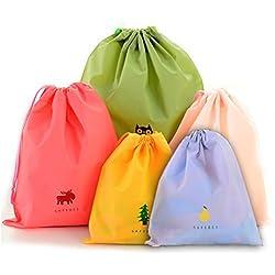BINGONE Juego de 5 bolsas de plástico impermeables de plástico plegable deporte de viaje Inicio uso de almacenamiento