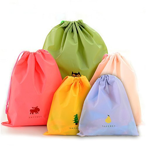 BINGONE Set of 5 Waterproof Drawstring Bag PE Plastic Folding Sport Home Travel Storage Use