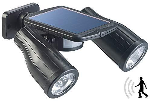 Lunartec Solar Bewegungsmelder: Solar-Strahler mit 2 LED-Lampen und PIR-Sensor, IP44 (LED Solar Strahler Bewegungsmelder)