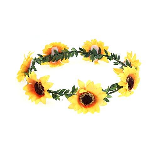 Frcolor Sonnenblume Stirnband Floral Blume Krone Haarband Haarkranz Kopfstück (Garland)