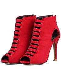 Europa y los Estados Unidos, zapatos de tallas grandes botas altas, botas de gamuza, zapatos de mujer, sandalias boca de pescado,gules,42