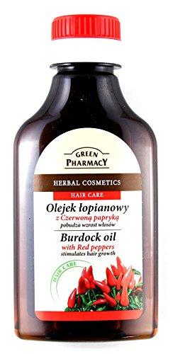 The Green Pharmacy - Huile de racine de bardane (avec touche pimentée) pour cheveux: stimule la pousse des cheveux et revigore le cuir chevelu - flacon de 100 ml