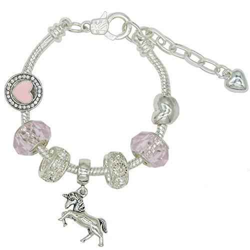 Pulsera Unicornio para Niñas, Dulce Perlas de Cristal Rosa Cristal de Murano Corazón de Plata Pulsera con Unicornio Regalos de Joyería para Niñas
