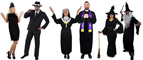 ILOVEFANCYDRESS 1920s Paare KOSTÜME VERKLEIDUNG =Gangster Paar ODER Priester+NONNEN Paar ODER Zauberer + Hexe Paar ODER GOTIC Paar AUS DEM HERRENHAUS = Gangster Paar-Herren/XXLarge+Kleid-MEDIUM