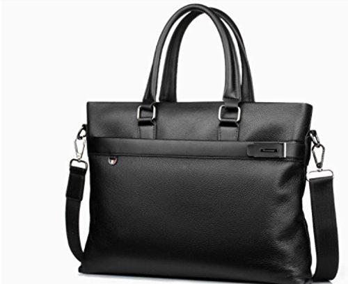 BULAGE Taschen Leder Hand Freizeit Männer Business Dokument Hauptschichtrindleder Schulter Schräg Zusammenbruch Mode Black