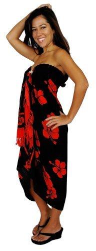 1 World Sarongs Damen Hibiskus Blüten Badeanzug Cover-Up Sarong in Rot/Schwarz (Kleid Sarong Hibiskus)
