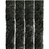 Flauschvorhang, Campingvorhang, Insektenschutz Uni farbend, Auswahl: Schwarz - Jet Black 90 x 220 cm