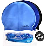 Swimming Combo By UNYBUY   Swimming Kit   Silicone Cap + Goggles + Ear Plugs Pair For Men, Women, Girls, Boys, Kids