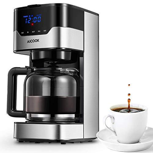 Aicook Macchina Caffè, Macchina per Caffè Americano Programmabile con Indicatore LED Pulsanti Touch, Intensità dell\'Aroma Regolabile e Controllo Temperatura Digitale, Acciaio Inox, 12 Tazze, Nero