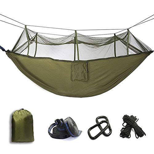 CHZDDC Ultralight Mosquito Net Parachute Hammock with Anti-Mosquito Bites  For Outdoor Camping Tent Using Sleeping Army Green