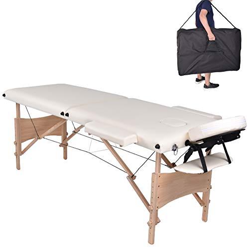 Pawstory 2 zone legno lettino lettini da massaggio pieghevole tavolo da massaggio portatile estetica tatuaggi con poggiatesta e bracciolo, borsa da trasporto (bianco)
