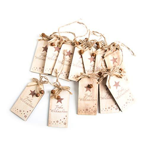 12 Stück natur braune Geschenk-Anhänger HOLZTAFEL FROHE WEIHNACHTEN 5 x 10,5 cm Verpackung Weihnachtsgeschenke Kunden Geschenkverpackung give-away weihnachtlich