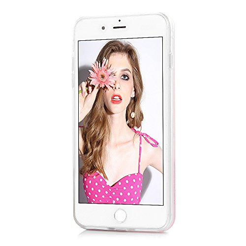 Badalink Coque pour iPhone 7 Plus, Case Housse Étui Bumper Coque de Protection TPU + PC Silicone Gel Transparent Souple Flexible Ultra Mince Slim Léger Anti Rayure Antichoc Sable Mouvant Coque Motif E Fleur