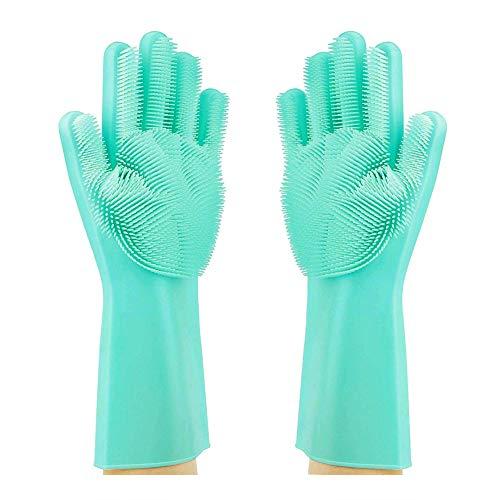 Cutebao Magische Silikon Handschuhe für Backofen mit Wash Scrubber Abwasch Pinsel,Wiederverwendbarer Hitzebeständig Umweltfreundliche Mehrzweck Küchenhelfer,Haus Küche Badreinigung,Hund Tierpflege
