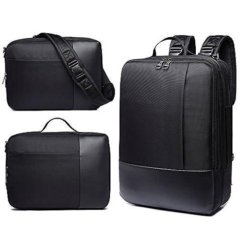 Laptop Backpack, 3-in-1 Men's Cross Body Bag Handbag Waterproof Daypack for School Business Work Travel Hiking, Classic Black