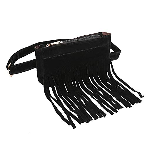 FitfulVan Clearance! Hochwertiges Produkt. Bags, Fashion Damen Kuriertasche, quadratisch, Flock, Hüfttasche Schwarz 1