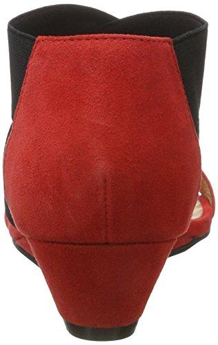 Bianco Sandale Mit Elastik Und Kleinem Keil, Sandales Compensées femme Rot (Red)