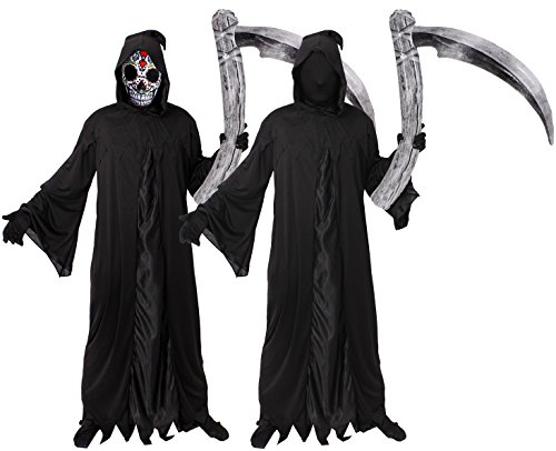Lustige Kostüme 2017 Halloween (HALLOWEEN = GEVATTER TOD ODER SENSENMANN-REAPER = KOSTÜM FÜR ERWACHSENE = UNISEX = ERHALTBAR IN VERSCHIEDENEN GRÖßEN= VON ILOVEFANCYDRESS®= PERFECTE VERKLEIDUNG AN HALLOWEEN ODER FASCHING UND KARNEVAL = REAPER ROBE)