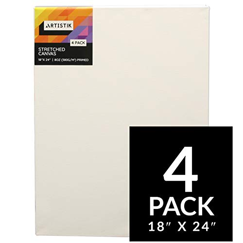 """Artistik Blank Canvas - Stretched Canvas Frames Panel Board for Painting,100{d613e02bb1ee3525acd5510e23e43cc3aeaef96f32c300fbe83790a44677c494} Cotton Artist Quality Triple Primed Gesso Stretched Canvases Quality Art Paint Supply (Pack of 4-18\"""" x 24\"""")"""