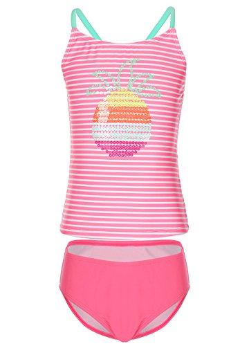 Mädchen Badeanzug Einteiler Bademode Rückenfrei Swimwear Pink Sommer Anzug UV Schutz Schwimmstunde,M