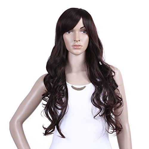 Damara Womens Long Hair Trendy Curly Party Wave Natural Full Wig,Dark Brown by Damara