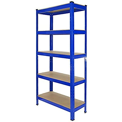 T-Rax 75 x 30 x 150 cm 5-Tier Racking Storage Shelving Heavy Duty Garage Steel Shelf Unit, Blue