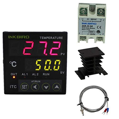 Sestos Digitale PID Temperatur Control Controller 12-24V Spannungsversorgung Thermostat D1S - VR-24 mit K-Typ Temperaturfühler und 25DA SSR Solid State Relay -