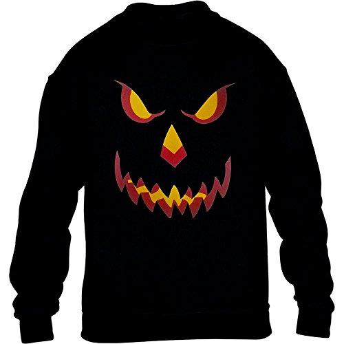 Halloween Kürbis Kopf Smile Gruselig Cooles Pumpkin Motiv Kinder Pullover Sweatshirt X-Large Schwarz (Sportliche Halloween Kostüme)