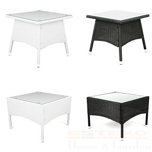 Polyrattan Tisch - versch. Größen Beistelltisch Rattan Teetisch Gartentisch Terrasse (50x50x45 cm, Weiß)