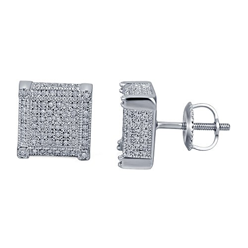 lilu Jewels Boucles d'oreilles clous en argent sterling 925style Dernières Bloc cube avec rond blanc véritable diamant White Platinum Plated