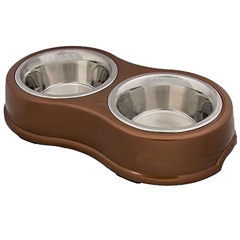 Medium double Bol pour animal domestique Chien Chat Twin Plat en acier inoxydable Feeder Eau Nourriture Nouvelle Base en caoutchouc antidérapant