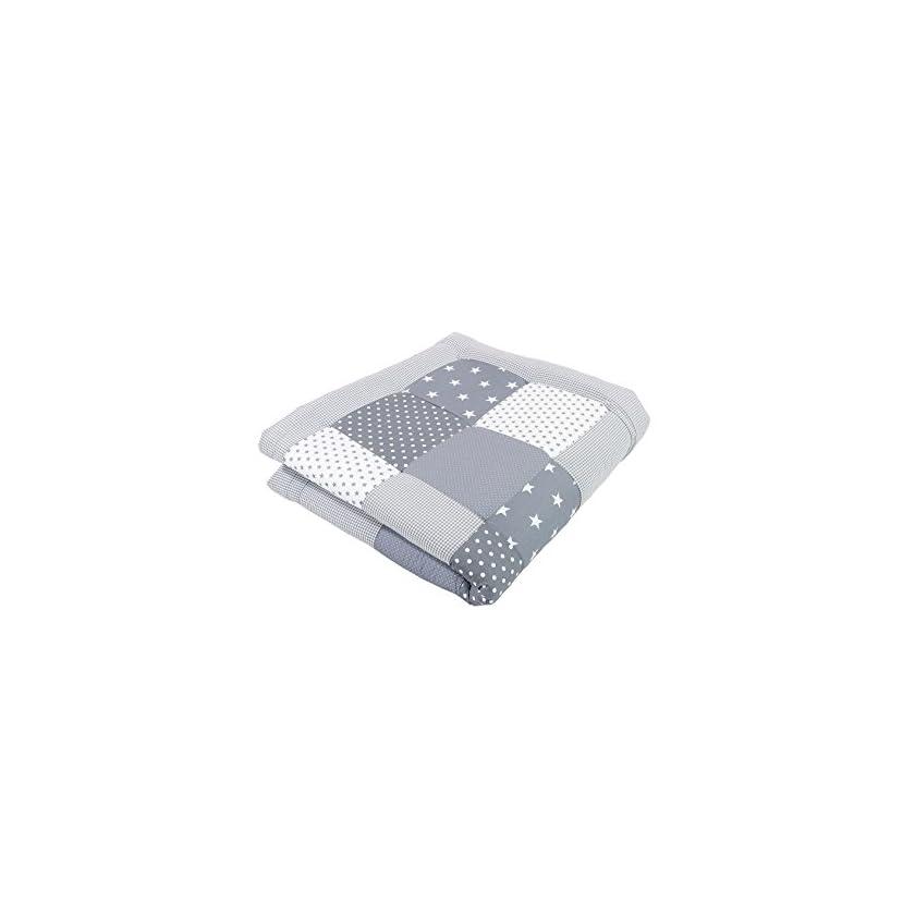 ULLENBOOM ® Baby Krabbeldecke Graue Sterne (100x100 cm / 120x120cm / 140x140 cm Baby Kuscheldecke, ideal als Laufgittereinlage, Spieldecke) 1