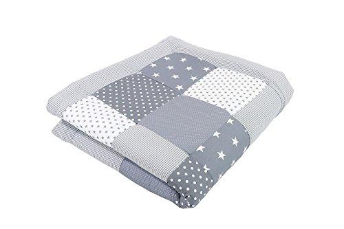 BEBILINO ® Baby Krabbeldecke Spieldecke & Laufgittereinlage groß und weich gepolstert GRAUE STERNE (100 x 100 cm)