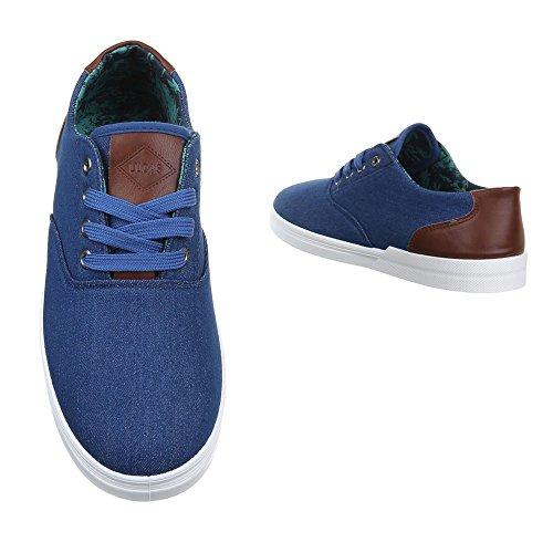 Slipper Herrenschuhe Moderne Ital-Design Schnürhalbschuhe Blau