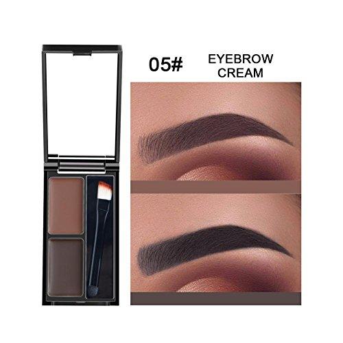 Oshide 2 couleurs Palette de sourcils Palette Palette de sourcils avec pinceau et miroir Ensemble imperméable Résistant à la transpiration Longue durée