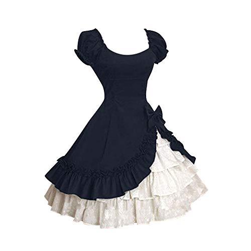 ❤❤ JiaMeng Vintage Mittelalterlicher Party Abendkleider süße Rüschen Gemütlich Kleid für Damen Faltenrock Hochzeit Kostüm Beauty Knielang Cocktailkleid Elegant Kleider