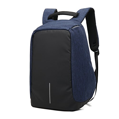 DeLamode Männer Doppel-Schulter-Rucksack mit USB-Ladeloch-Anti-Diebstahl-Student Travel Bags Grey Blau