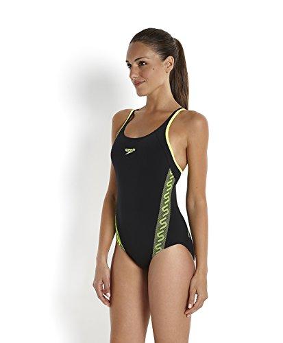 Speedo Superiority Muscle Back, Costume da bagno da donna Nero (Black/White flow)