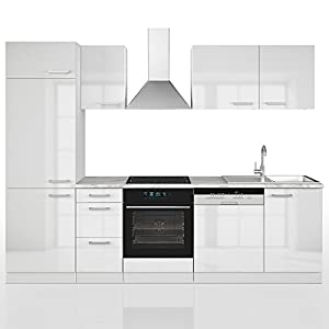 Vicco Küche 270 cm Küchenzeile Küchenblock Einbauküche Komplettküche - Frei Kombinierbar (Weiß Hochglanz)
