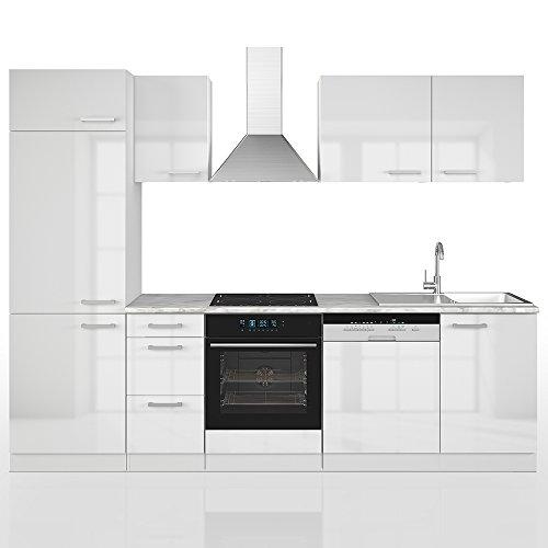 Vicco Küche 270 cm Küchenzeile Küchenblock Einbauküche Komplettküche – Frei Kombinierbar (Weiß Hochglanz)