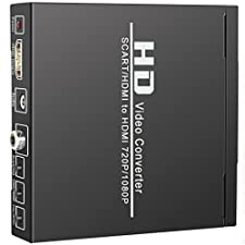 Scart to HDMI Converter ELEPHAS SCART + HDMI to HDMI Converter Adapter, Support 480I(NTSC)/576I(PAL) to 720P/1080P HDMI Signal for TV, DVD, Set-top Box, HD Player, Game Console (PS2 PS3 PSP,WII,XBOX360)