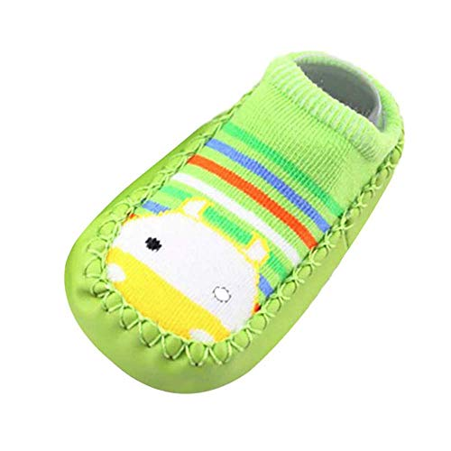 Missoul Born Toddler Baby Girls Boys Anti-Slip Socks Slipper Boots (A Green) -