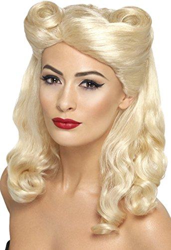 Smiffys Damen 40er Jahre Schulterlange und Gewellte Perücke mit Hochsteck-Tolle, Pin-Up Perücke, Blond, One Size, (Up Blonde Pin Perücke)
