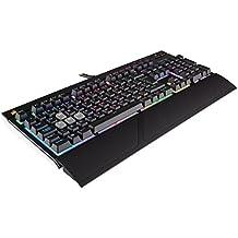 Corsair STRAFE RGB Mechanical Gaming Keyboard (Cherry MX Silent Switches, Per Key Multicolour RGB Backlighting, Anti-Ghosting, USB Pass-through, UK Layout) - Black