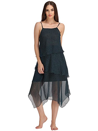 Clovia Women Tiered Beachdress With Tie-up Neckline