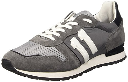 Bikkembergs Mant 650 L.Shoe M Nylon/Suede, Scarpe Low-Top Uomo, Multicolore (Dk.Grey/Grey/Black), 42 EU