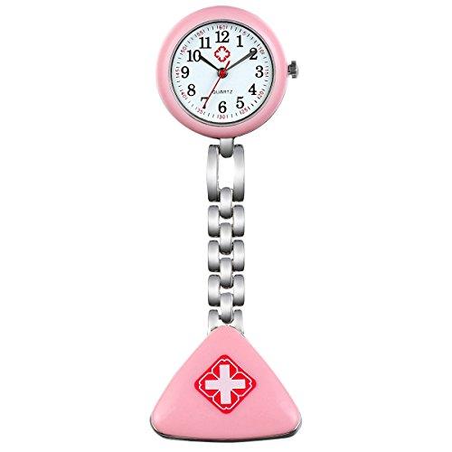 Lancardo Damen Taschenuhr, Krankenschwester Uhr Analog Quarzuhr aus Legierung, mit Dreieck Design Schwesternuhr, pink