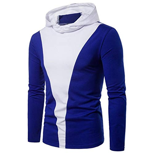 ZIYOU Herren Rundkragen Kapuzenpullover, Casual Patchwork Langarmshirt Sweatshirt mit Kapuze Sport Hoodie Pullover(2XL,Blau)