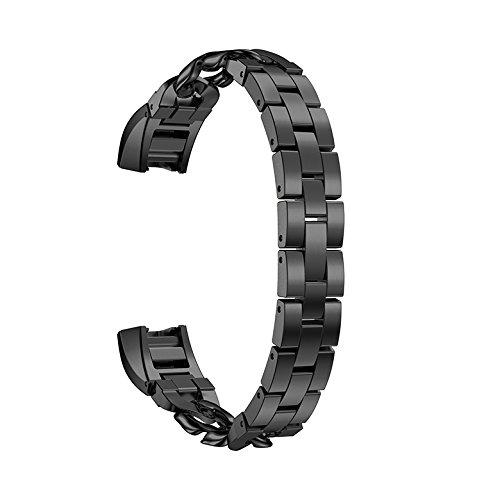 Fitbit Alta Armband, AISPORTS Fitbit Alta HR Uhrenarmband, Edelstahl, Cowboy-Ketten-Design, Smart-Watch-Armband, Ersatzarmband für Fitbit Alta/Fitbit Alta HR Fitness-Zubehör Schwarz