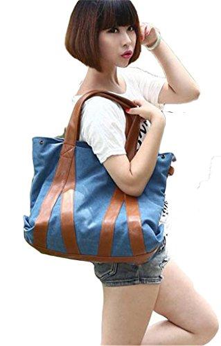 Auspicious beginning Neuer Stil Retro-Kontrastfarbenstreifen mit hoher Kapazität Tasche schwarz Umhängetasche Messenger Blau